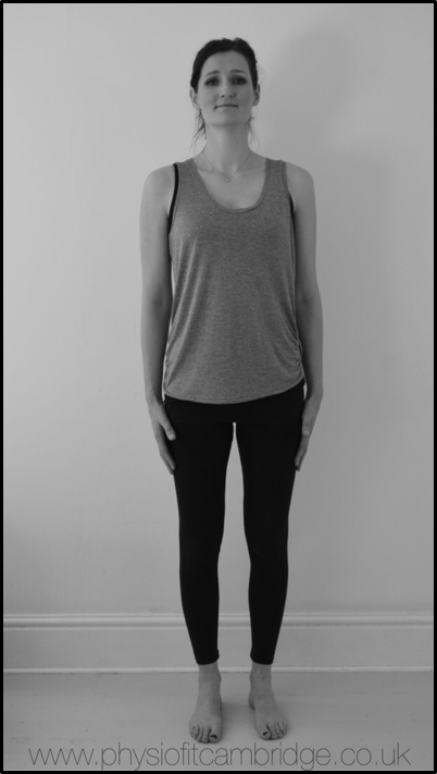 Standing isometric exercise for the buttock muscles and hips