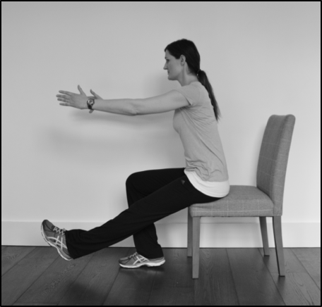 Single leg sit to stand exercise for shin pain