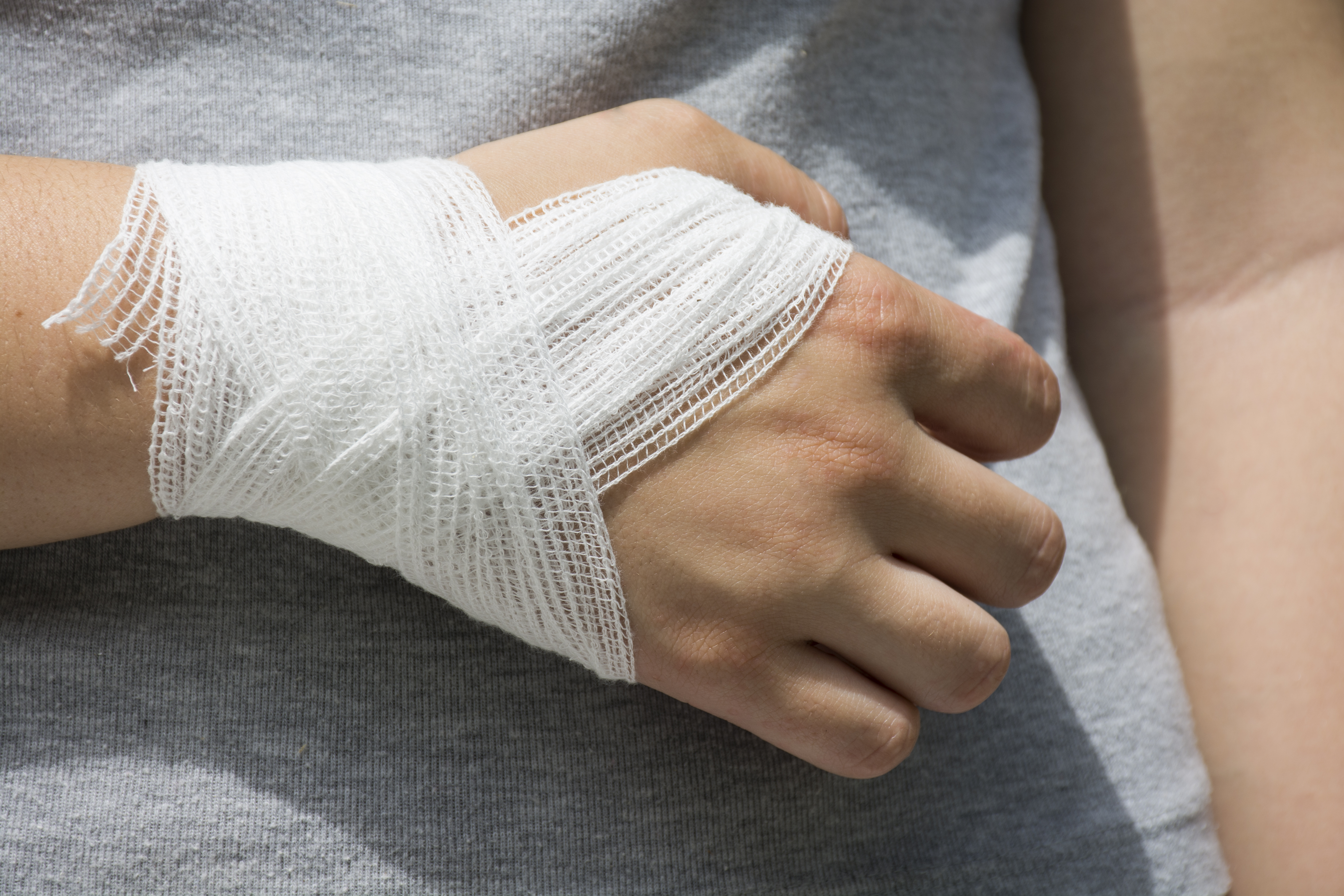 Wrist injury with a bandage