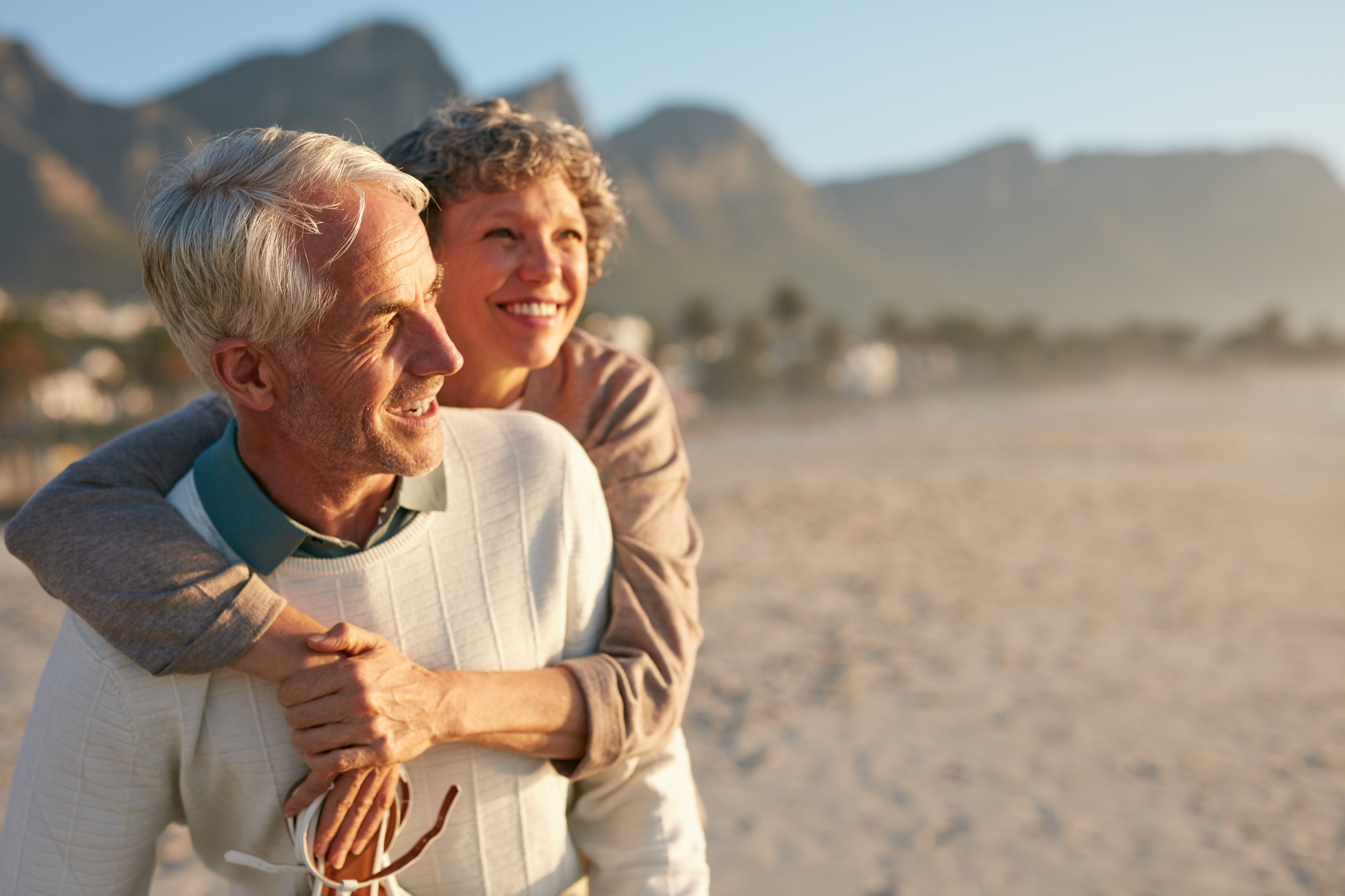 Couple on a beach - incontinence