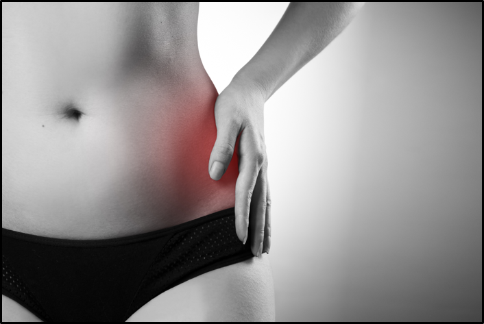 Woman with hip pain and bursitis
